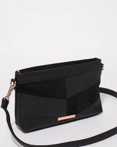 Black Erin Panel Crossbody Bag With Gold Hardware