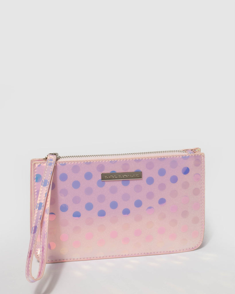 Hologram Willow Wristlet Clutch Bag With Silver Hardware