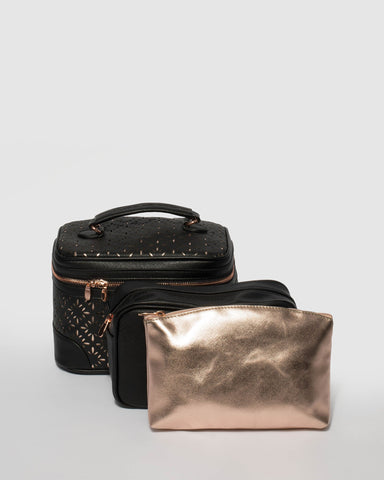 Black Cosmetic Case Pack With Rose Gold Hardware