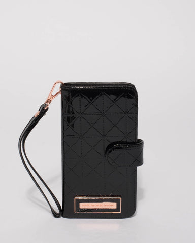 Black Patent Stitched Iphone 6, 7 & 8 Plus Purse