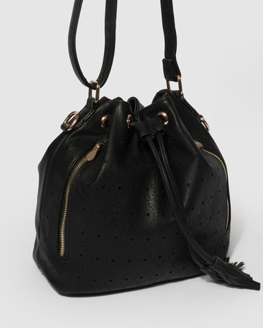 Black Giselle Punchout Bucket Bag