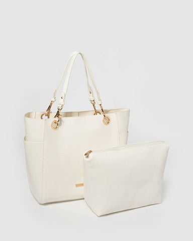 White Lena Tote Bag