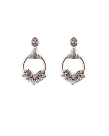 Crystal Antique Gold Tone Diamante Circle Statement Earrings