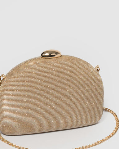 Gold Mia Glitter Clutch Bag