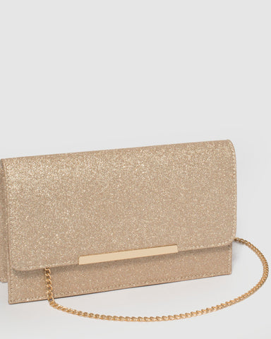 Gold Lily Bird Patch Clutch Bag