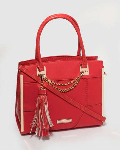 Red Chiara Chain Tote Bag
