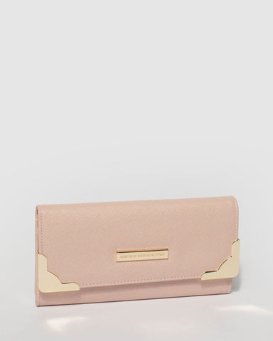 Pink Gemma Wallet With Gold Hardware