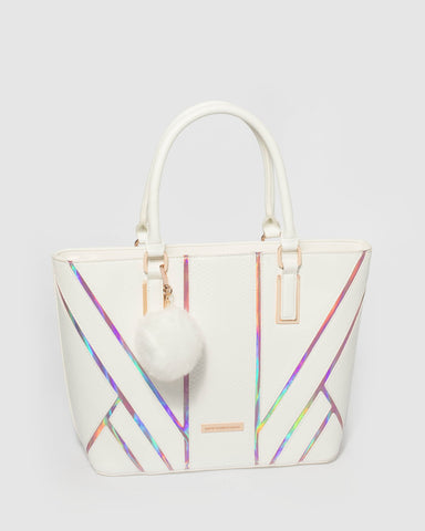 White  Evie Panelled Tote Bag