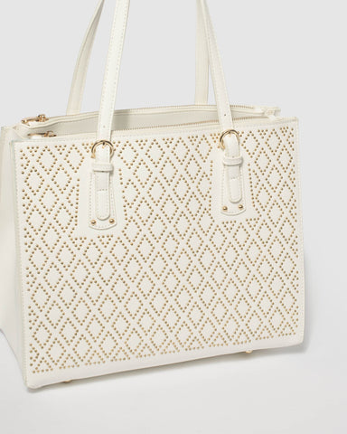 White Negin Stud Tote Bag