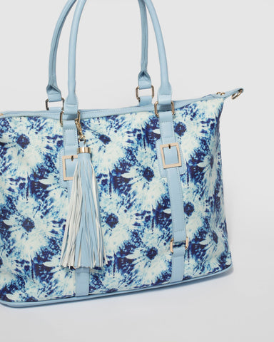 Blue Tie Dye Alice Tassel Weekender Bag