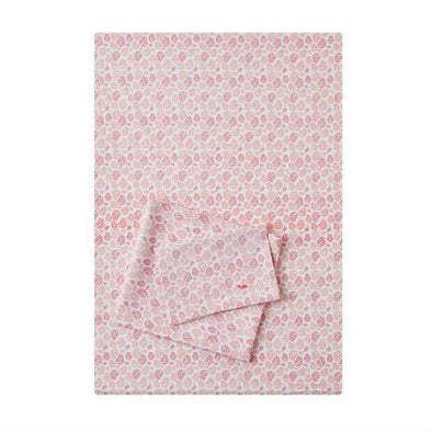 3 Piece Cot Sheet Set - White with Pink Leaves Sheets, Little Turtle Baby