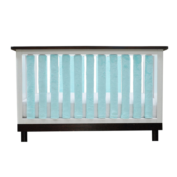 Vertical Crib Liners - Luxurious Aqua Mint Minky