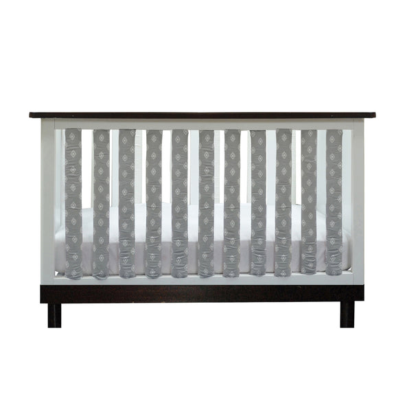 Vertical Crib Liners - Grey & White Tribal