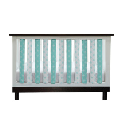 Vertical Crib Liners - Aqua & White Tribal