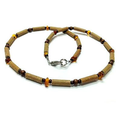 Pure Hazelwood and Baltic Amber Necklace for Teens and Adults Teething, Pure Hazelwood