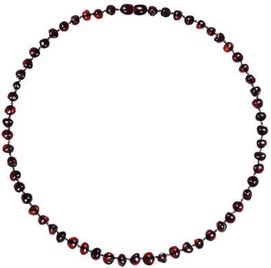 Baby Amber Bud Necklace (33cm, Dark Cherry)
