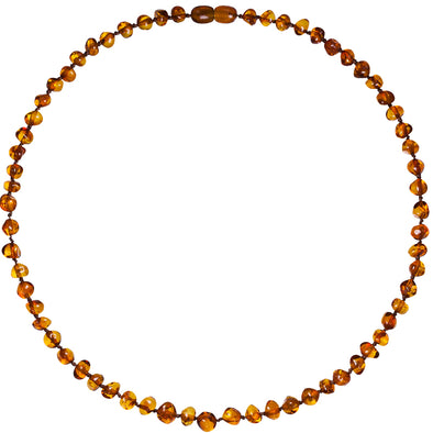 Baby Amber Bud Necklace (33cm, Cognac)
