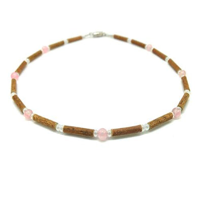 Teething Necklace - Hazelwood and Rose Quartz Teething, Pure Hazelwood