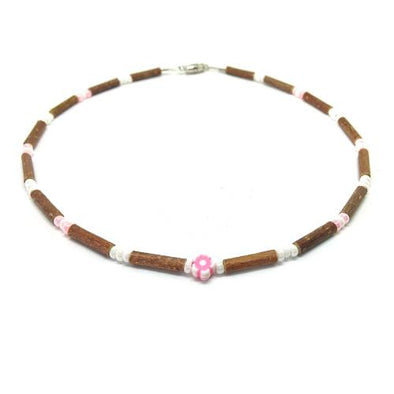 Teething Necklace - Hazelwood and Pink Flower Teething, Pure Hazelwood