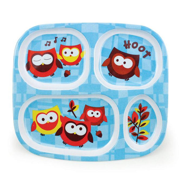 Melamine Divided Plate - Blue Owl Divided Plate, Bumkins