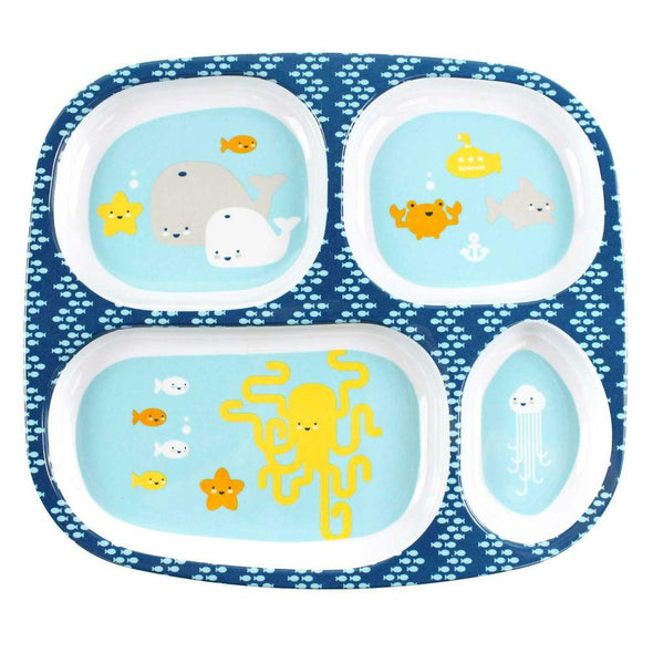 Melamine Divided Plate - Sea Friends Divided Plate, Bumkins