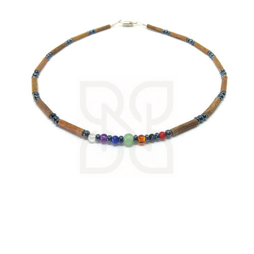 Pure Hazelwood Necklace for Baby and Child - Hazel Wood Necklace with Chakra Stones