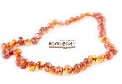 Baby Amber Bud Necklace (33cm, Cognac) Teething Necklace, Bambeado