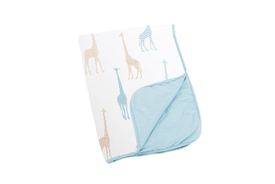 Doomoo Dream Cotton Blanket - Giraffe Blue