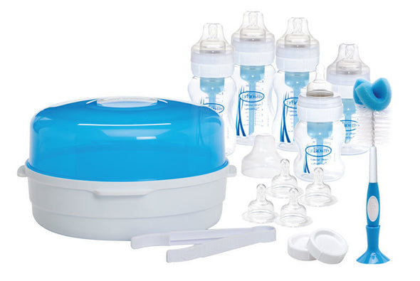 Dr Brown's Deluxe Anti-Colic Newborn Sterilising Baby Bottle Kit - Wide Neck