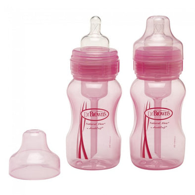 Dr Brown's  240ml Wide Neck Bottle- 2 Pack, Pink