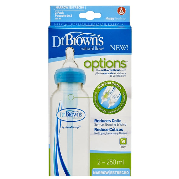 Dr. Brown's Natural Flow Options Blue 250ml Narrow 2 Pack