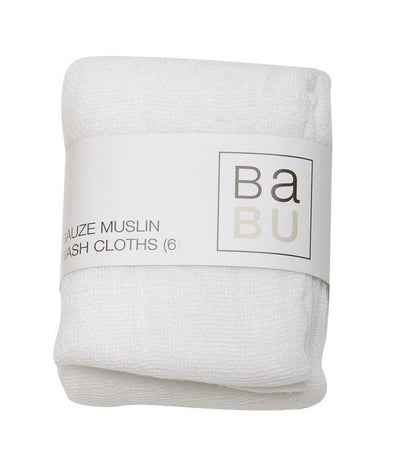 Gauze Muslin Facecloth Set (6 pack) Facecloths, Babu