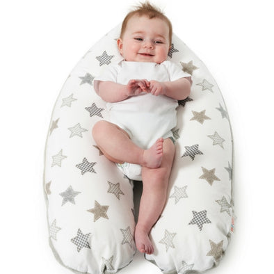 Snoozzz Pregnancy and Feeding Pillow - Taupe Stars