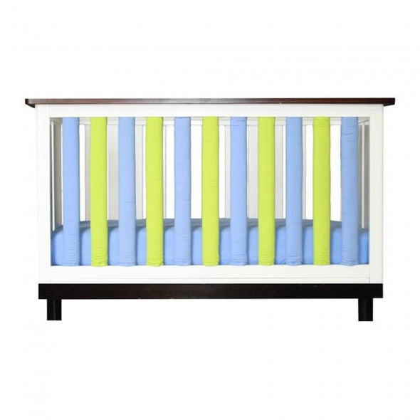 Vertical Crib Liners - Periwinkle and Lime Cot Bumper, Go Mama Go