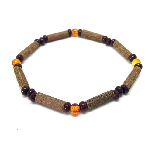 Pure Hazelwood and Baltic Amber Single Bracelet For Teens and Adults Teething, Pure Hazelwood