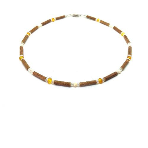 Teething Necklace - Hazelwood, Freshwater Pearls & Baltic Amber Teething, Pure Hazelwood