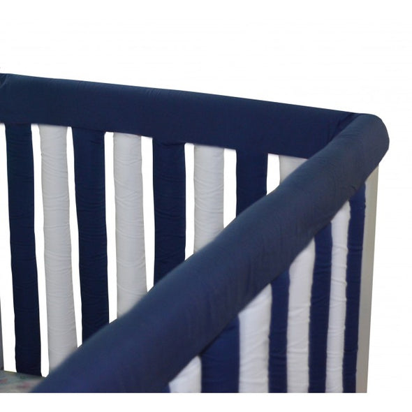 Reversible Cot Teething Guards - Navy & White