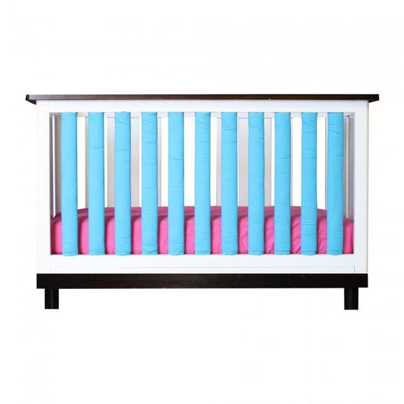 Vertical Crib Liners - Turquoise & White Cot Bumper, Go Mama Go