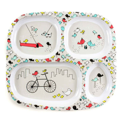 Melamine Divided Plate - Urban Bird