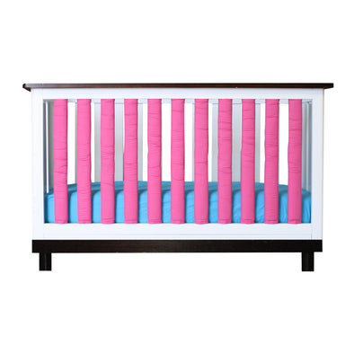 Vertical Crib Liners - Fuchsia and White Vertical Crib Liner, Go Mama Go