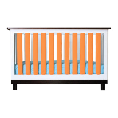 Vertical Crib Liners - Orange and White Cot Bumper, Go Mama Go