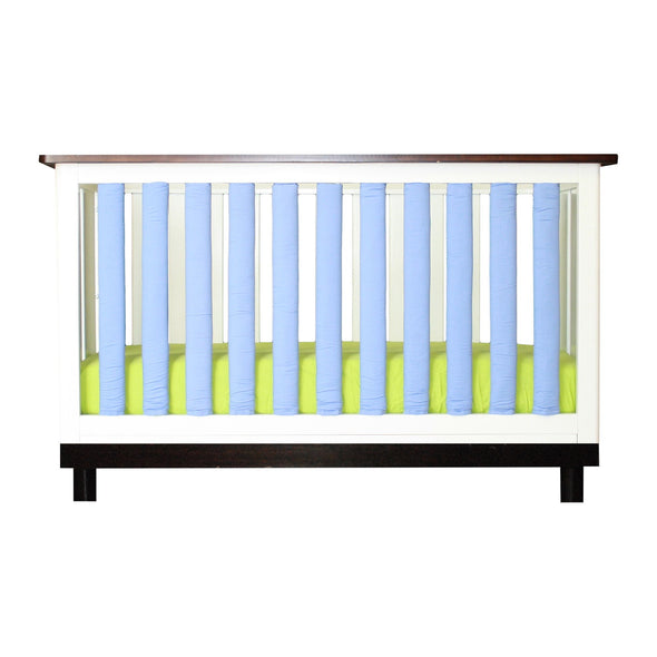 Vertical Crib Liners - Periwinkle and White Cot Bumper, Go Mama Go