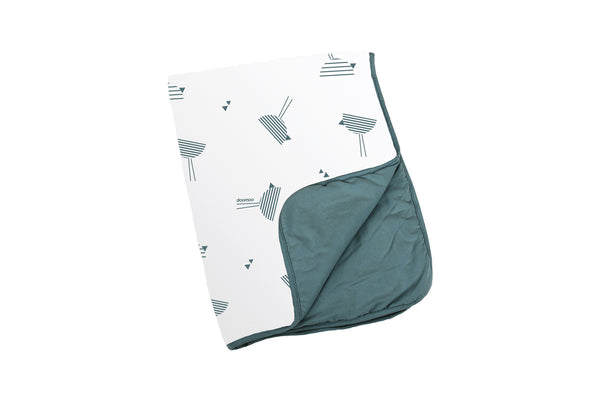 Doomoo Dream Cotton Blanket - Birds Petrol
