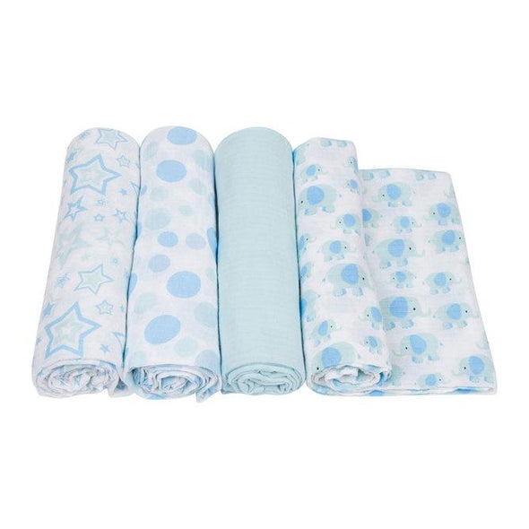 Miracle Blanket Muslin Swaddle Elephant/Blue - Four Pack Swaddle, Miracle Blanket