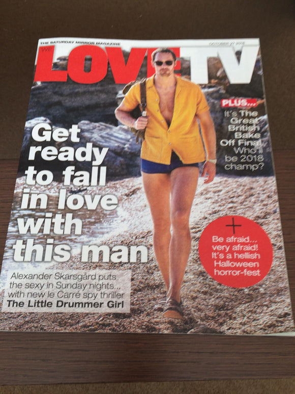 UK We Love TV Mag October 2018: ALEXANDER SKARSGARD LITTLE DRUMMER GIRL COVER