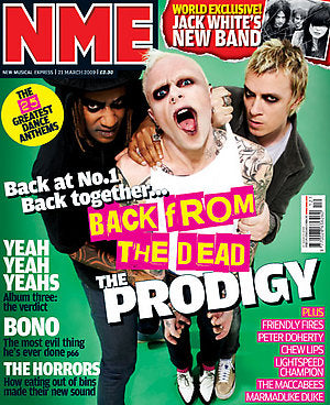 NME MAGAZINE - THE PRODIGY Keith Flint COVER (21 MARCH 2009)