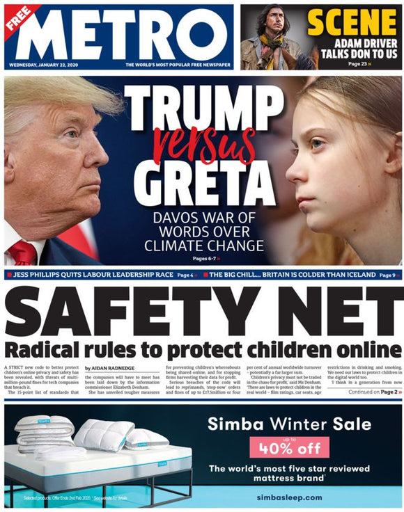 Metro 22nd January 2020: Donald Trump vs Greta Thunberg + Adam Driver interview