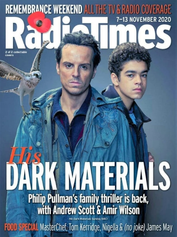 UK Radio Times Magazine 7 Nov 2020: HIS DARK MATERIALS Andrew Scott Amir Wilson