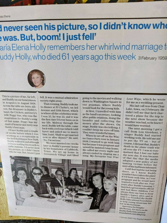 UK TELEGRAPH MAGAZINE February 1st 2020: Maria Elena Holly interview Buddy Holly
