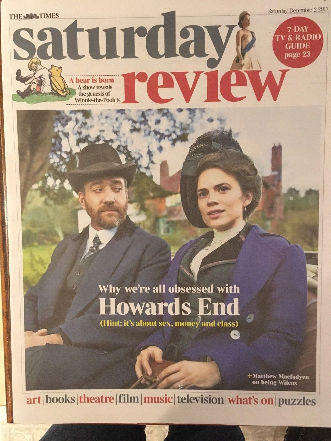 UK Times Review December 2nd 2017 Matthew MacFadyen Howard's End Hayley Atwell